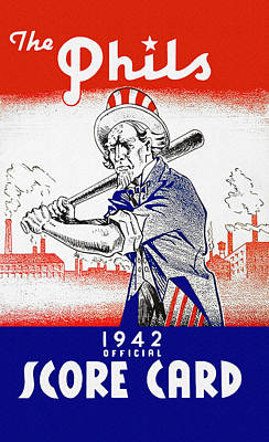 Philadelphia Phillies 1942 Score Card Art Print by John Farr