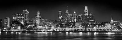 Philadelphia Philly Skyline At Night From East Black And White Bw Print by Jon Holiday