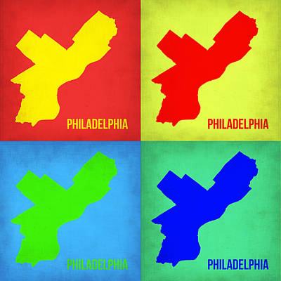 Philadelphia Wall Art - Painting - Philadelphia Pop Art Map 1 by Naxart Studio