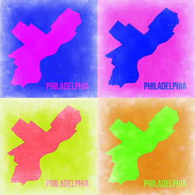 Philadelphia Wall Art - Painting - Philadelphia Pop Art Map 2 by Naxart Studio
