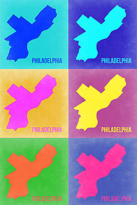 Philadelphia Wall Art - Painting - Philadelphia Pop Art Map 3 by Naxart Studio