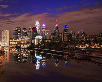 Phillies Digital Art - Philadelphia - Reflections On The Schuylkill River by Bill Cannon