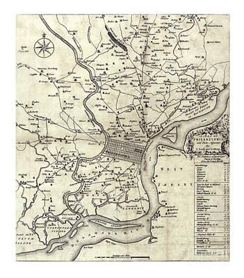 Old Map Painting - Philadelphia Region - Pennsylvania - 1753 by Pablo Romero