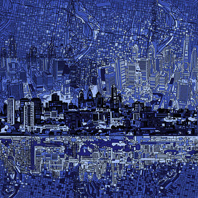 Painting - Philadelphia Skyline Abstract 2 by Bekim Art