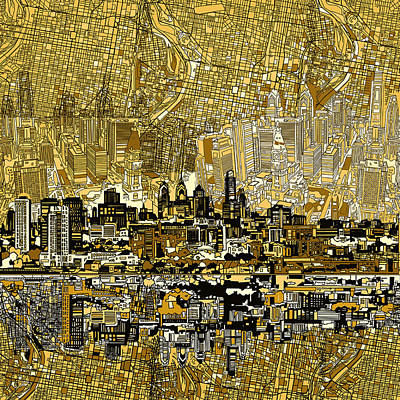 Painting - Philadelphia Skyline Abstract 3 by Bekim Art