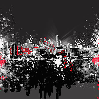 Skylines Paintings - Philadelphia Skyline Abstract 5 by Bekim Art