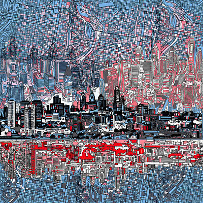 Painting - Philadelphia Skyline Abstract by Bekim Art