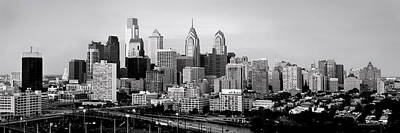 Photograph - Philadelphia Skyline Black And White Bw Pano by Jon Holiday