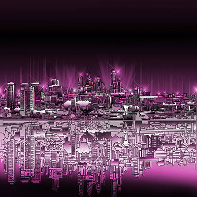 Painting - Philadelphia Skyline  Gradient 2 by Bekim Art