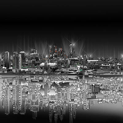 Painting - Philadelphia Skyline  Gradient by Bekim Art