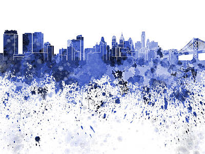 Philadelphia Skyline Painting - Philadelphia Skyline In Blue Watercolor On White Background by Pablo Romero