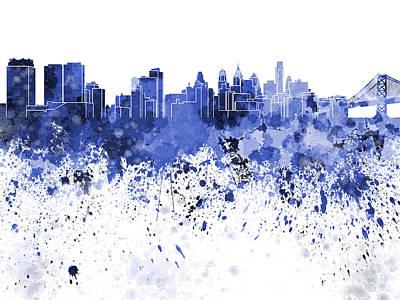 Philadelphia Skyline In Blue Watercolor On White Background Print by Pablo Romero