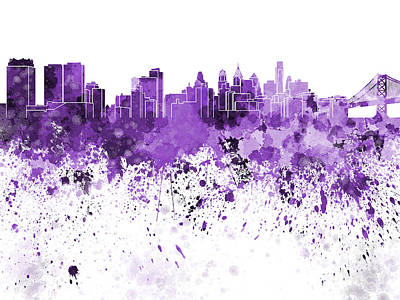 Philadelphia Skyline Painting - Philadelphia Skyline In Purple Watercolor On White Background by Pablo Romero