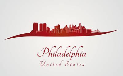 Philadelphia Skyline In Red Art Print