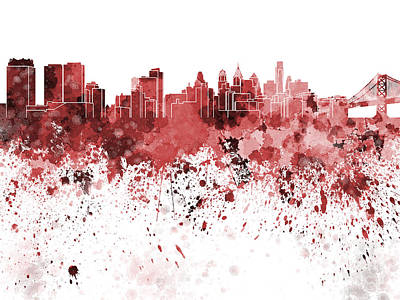 Philadelphia Skyline Painting - Philadelphia Skyline In Red Watercolor On White Background by Pablo Romero