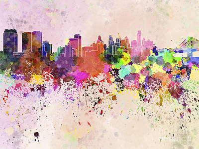 Philadelphia Skyline Digital Art - Philadelphia Skyline In Watercolor Background by Pablo Romero