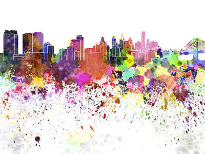 Philadelphia Skyline Painting - Philadelphia Skyline In Watercolor On White Background by Pablo Romero