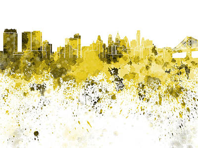 Philadelphia Skyline Painting - Philadelphia Skyline In Yellow Watercolor On White Background by Pablo Romero