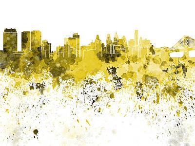 Philadelphia Skyline In Yellow Watercolor On White Background Print by Pablo Romero