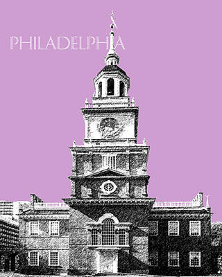 Philadelphia Skyline Digital Art - Philadelphia Skyline Independence Hall - Light Plum by DB Artist