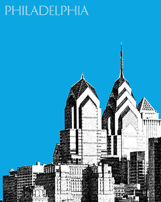 Philadelphia Skyline Digital Art - Philadelphia Skyline Liberty Place 1 - Ice Blue by DB Artist