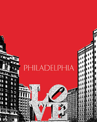 Pen And Ink Digital Art - Philadelphia Skyline Love Park - Red by DB Artist