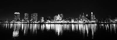Philadelphia Skyline Photograph - Philadelphia Skyline Panorama In Black And White by Bill Cannon
