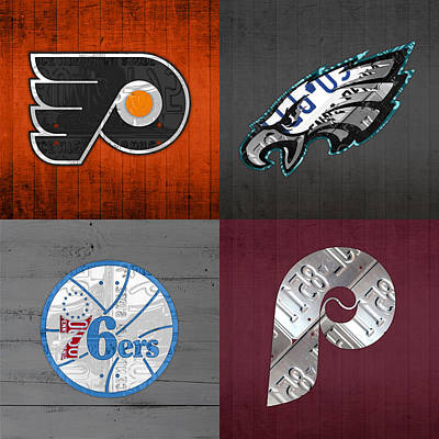 Philadelphia Wall Art - Mixed Media - Philadelphia Sports Fan Recycled Vintage Pennsylvania License Plate Art Flyers Eagles 76ers Phillies by Design Turnpike