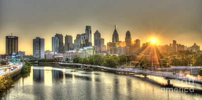 Train Tracks Photograph - Philadelphia Sunrise by Mark Ayzenberg