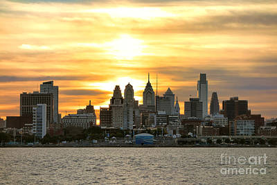 Phillies Photograph - Philadelphia Sunset by Olivier Le Queinec