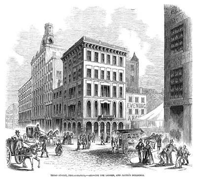 Philadelphia Scene Painting - Philadelphia Third Street by Granger