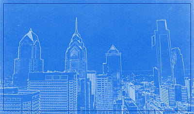 Usa Drawing - Philadelphia Towers City Skyline Blueprint by Celestial Images