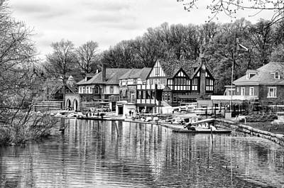 Boathouse Photograph - Philadelphia's Boathouse Row In Black And White by Bill Cannon