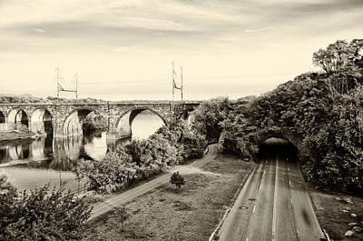 Philadelphia's Rock Tunnel - Kelly Drive In Sepia Art Print by Bill Cannon