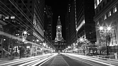 Philadelphia History Photograph - Philadephia City Hall -- Black And White by Stephen Stookey