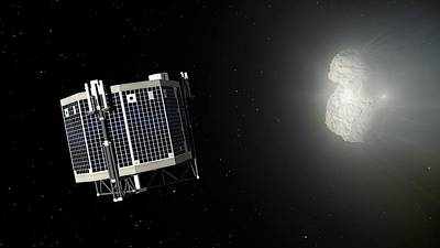 Philae Lander Approaching Comet 67p Art Print by Mark Garlick