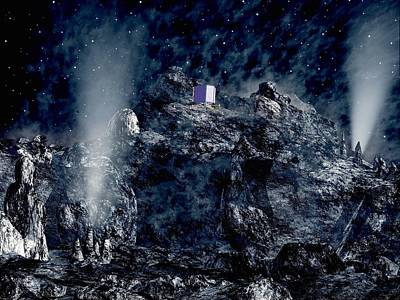 Philae Lander Descending Onto Comet Print by European Space Agency,medialab