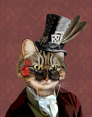 Phileas Feline Steampunk Cat Art Print by Kelly McLaughlan