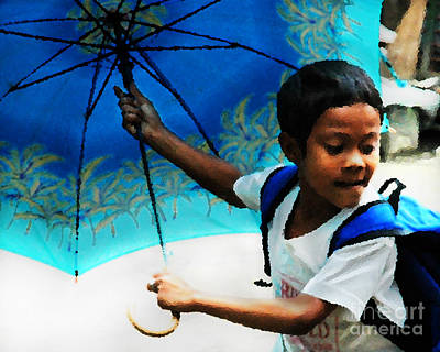 Photograph - Philippine Boy With Umbrella by Michael Arend