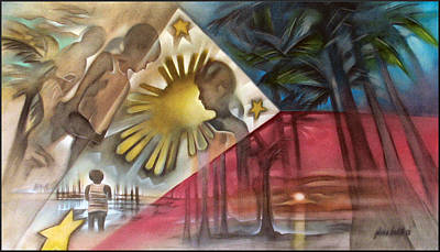 Painting - Philippine Flag 2006 by Glenn Bautista