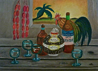 Painting - Philippine Still Life With Basi And Rooster by Victoria Lakes
