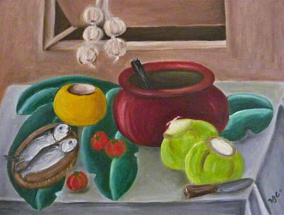 Painting - Philippine Still Life With Fish And Coconuts 2 by Victoria Lakes