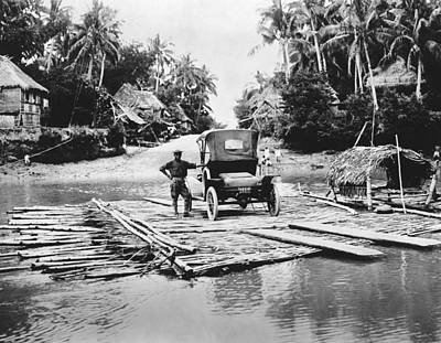 Reflections Of Trees In River Photograph - Philippines Bamboo Ferry by Underwood Archives