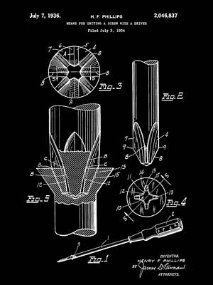 Construct Digital Art - Phillips Screwdriver Patent 1934 - Black by Stephen Younts