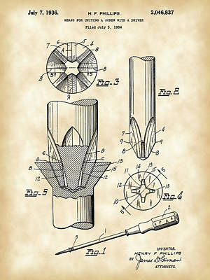 Construct Digital Art - Phillips Screwdriver Patent 1934 - Vintage by Stephen Younts