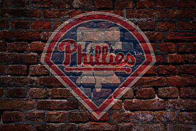 Cabin Wall Photograph - Phillies Baseball Graffiti On Brick  by Movie Poster Prints
