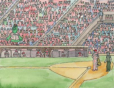 Phillies Game Art Print by Cee Heard