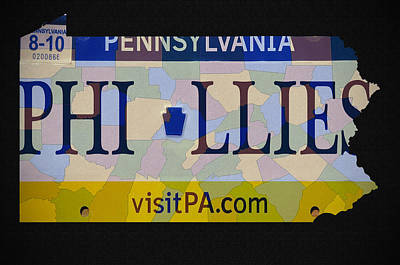 Baseball. Philadelphia Phillies Photograph - Phillies License Plate Map by Bill Cannon