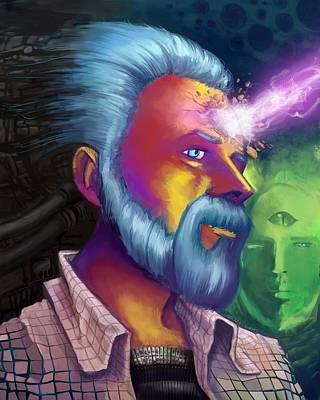 Blade Runner Painting - Phillip K. Dick Portrait by Brian Gilbert