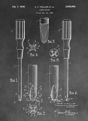 Mixed Media - Phillips Screwdriver Patent by Dan Sproul